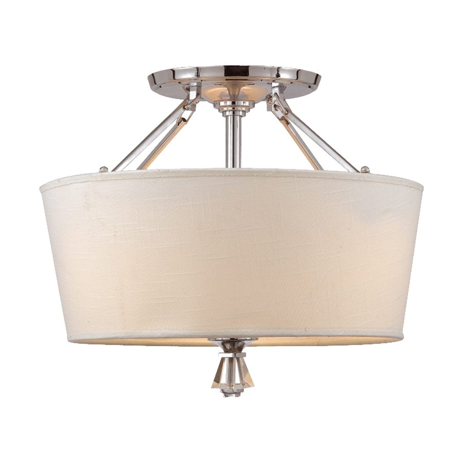 Quoizel Deluxe 18-in W Polished Chrome Fabric Semi-Flush Mount Light