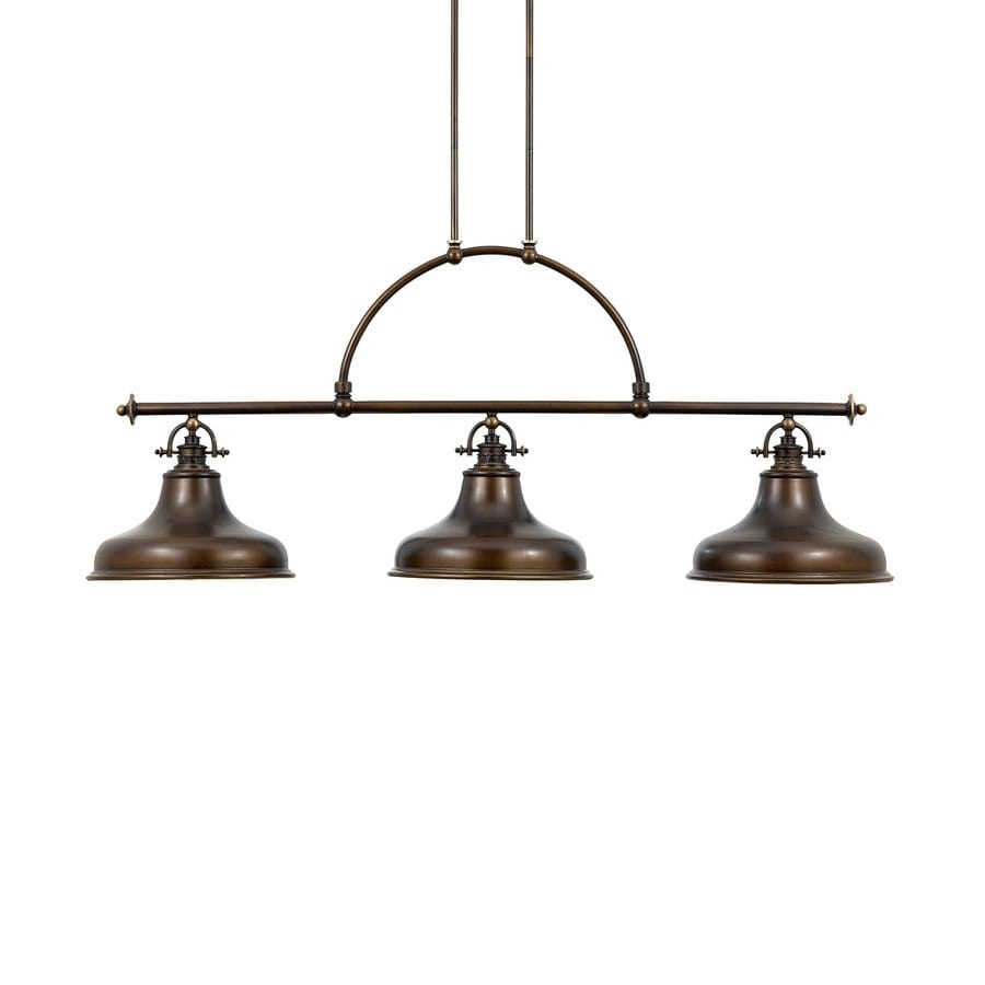 Quoizel Emery 13.5-in W 3-Light Palladian Bronze Vintage Kitchen Island Light with Metal Shades