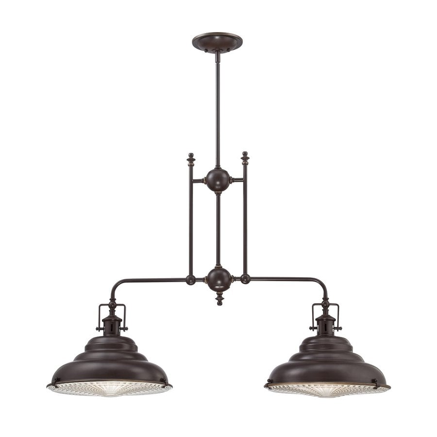 Quoizel Eastvale 14.5-in W 2-Light Palladian Bronze Vintage Kitchen Island Light with Ribbed Shade