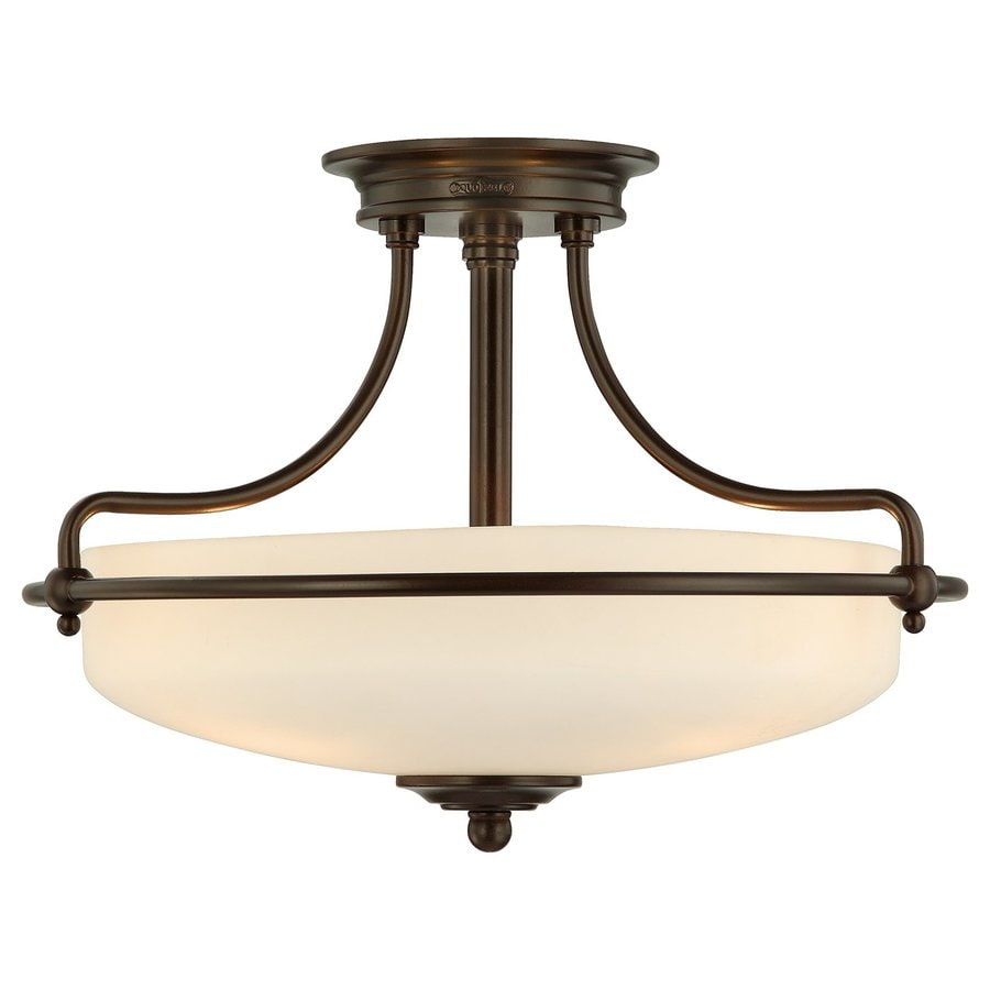 Quoizel Griffin 17-in W Palladian Bronze Etched Glass Semi-Flush Mount Light