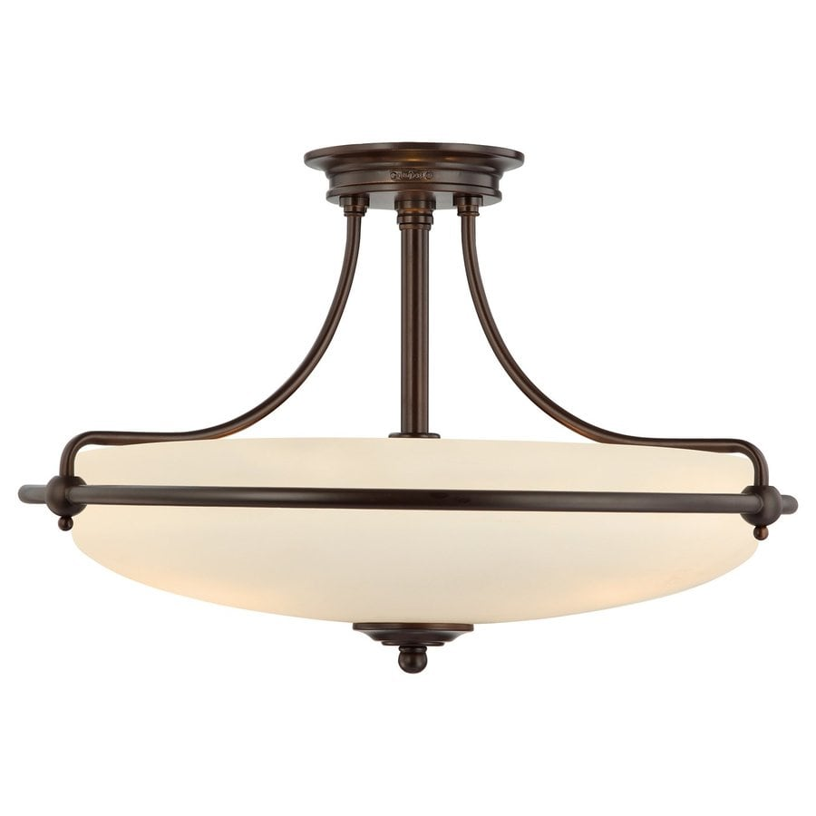 Quoizel Griffin 21-in W Palladian Bronze Etched Glass Semi-Flush Mount Light