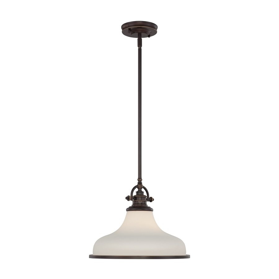 Quoizel Grant 13.5-in Palladian Bronze Industrial Single Etched Glass Warehouse Pendant