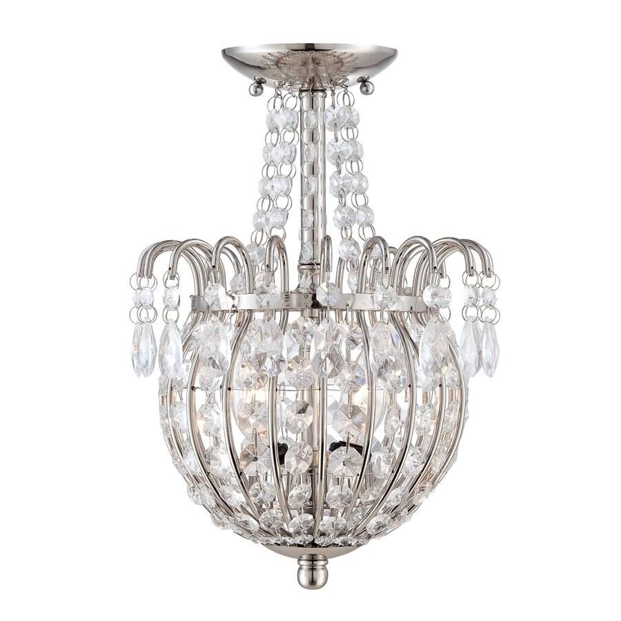 Quoizel Jolene 9.5-in W Imperial Silver Crystal Semi-Flush Mount Light