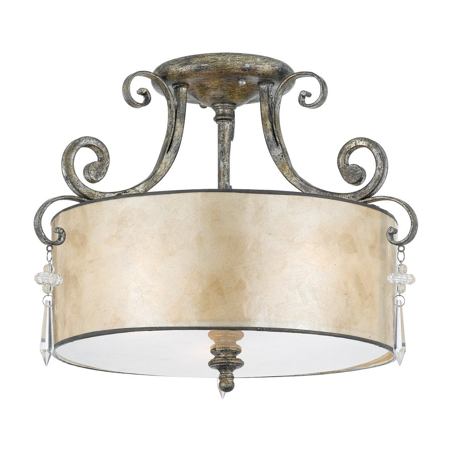 Quoizel Kendra 16-in W Mottled Silver Mica Semi-Flush Mount Light