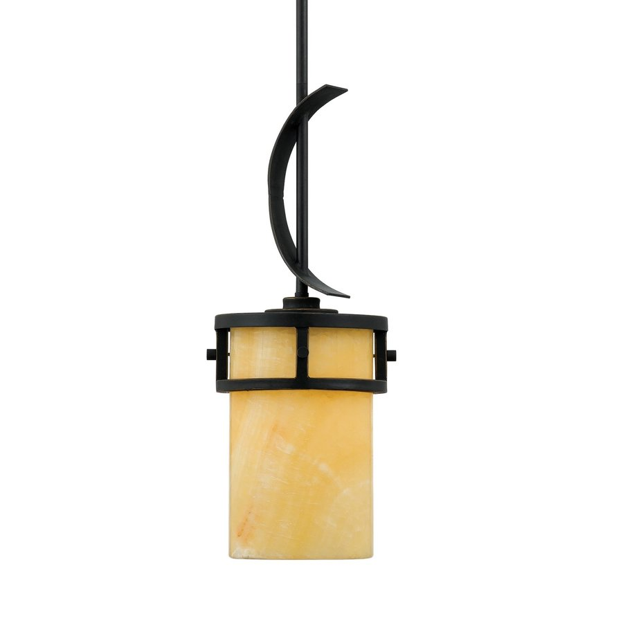 Quoizel Kyle 8-in Imperial Bronze Mediterranean Mini Marbleized Glass Cylinder Pendant