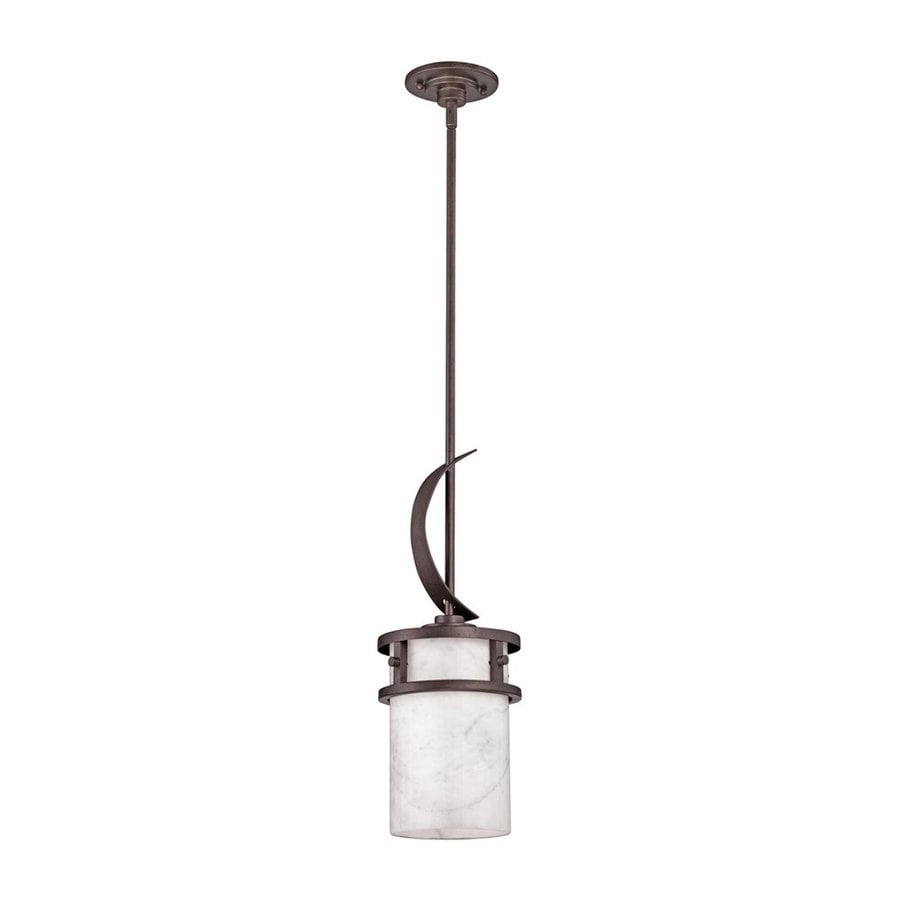 Quoizel Kyle 8-in Iron Gate Mediterranean Mini Marbleized Glass Cylinder Pendant