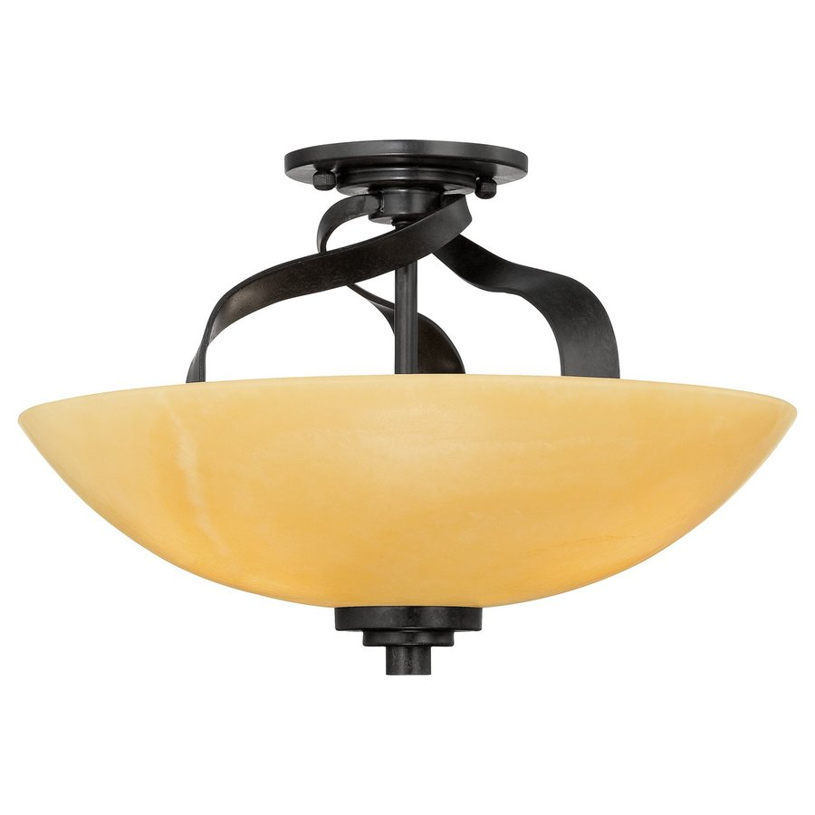 Quoizel Kyle 16-in W Imperial bronze Natural Onyx Semi-Flush Mount Light