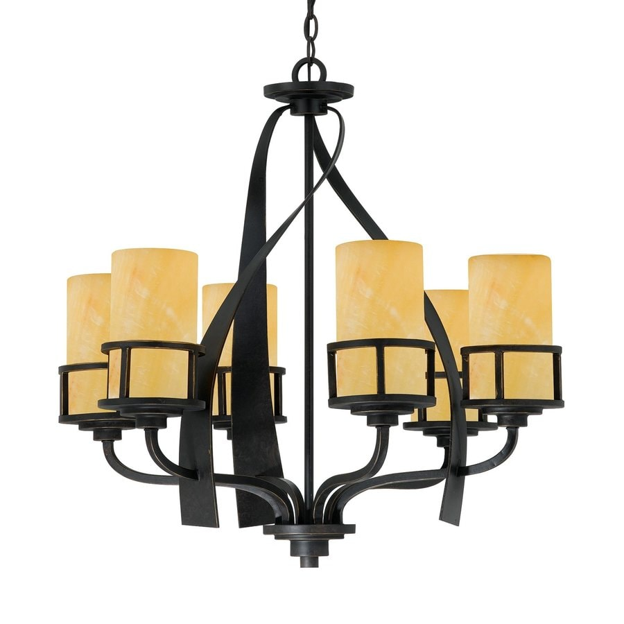 Quoizel Kyle 28-in 6-Light Imperial Bronze Wrought Iron Textured Glass Shaded Chandelier
