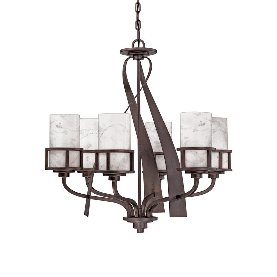 Quoizel Kyle 28-in 6-Light Iron Gate Wrought Iron Marbleized Glass Shaded Chandelier