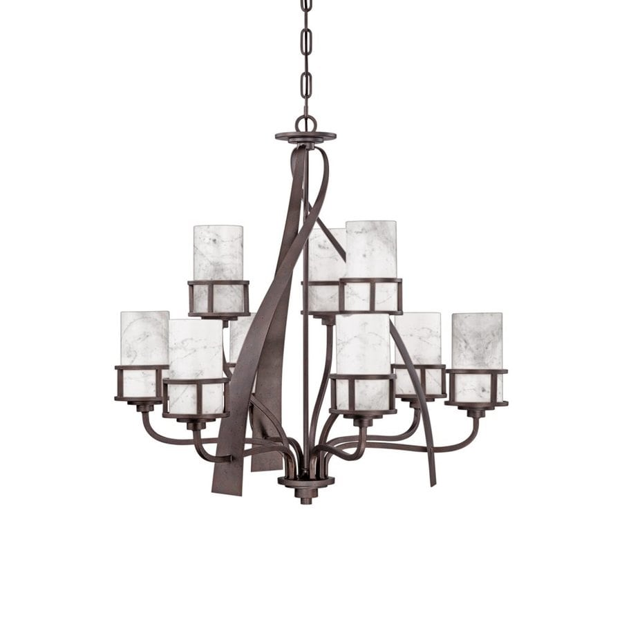 Quoizel Kyle 35-in 9-Light Iron Gate Wrought Iron Marbleized Glass Shaded Chandelier