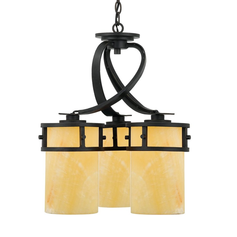 Quoizel Kyle 20-in 3-Light Imperial Bronze Wrought Iron Textured Glass Shaded Chandelier