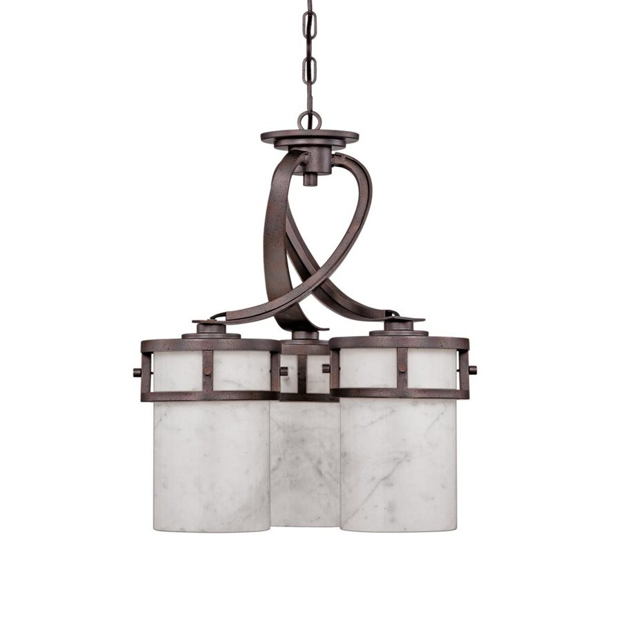 Quoizel Kyle 20-in 3-Light Iron Gate Wrought Iron Marbleized Glass Shaded Chandelier