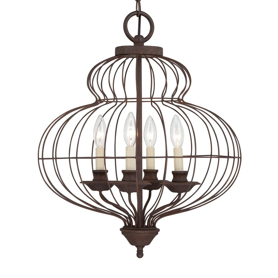 Quoizel Laila 18-in 4-Light Rustic Antique Bronze Vintage Cage Chandelier