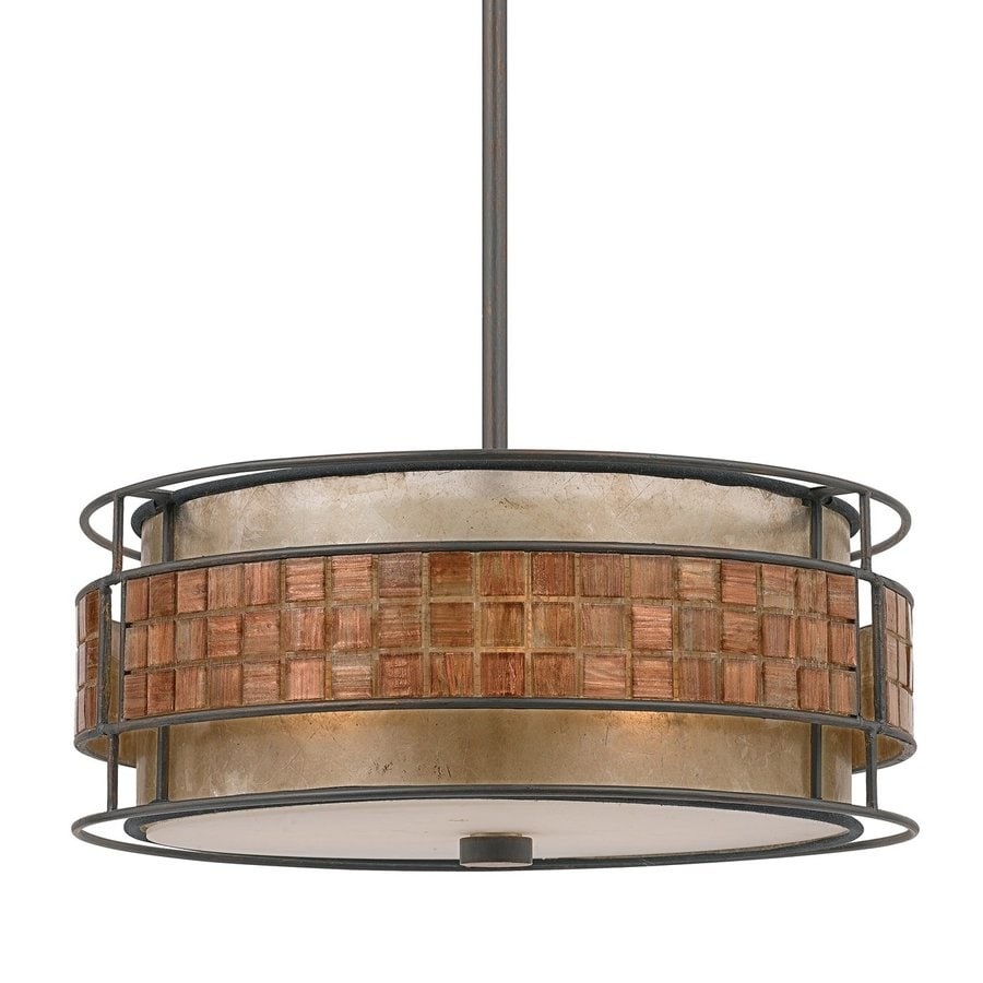 Quoizel Laguna Naturals 16-in Renaissance Copper Coastal Single Drum Pendant