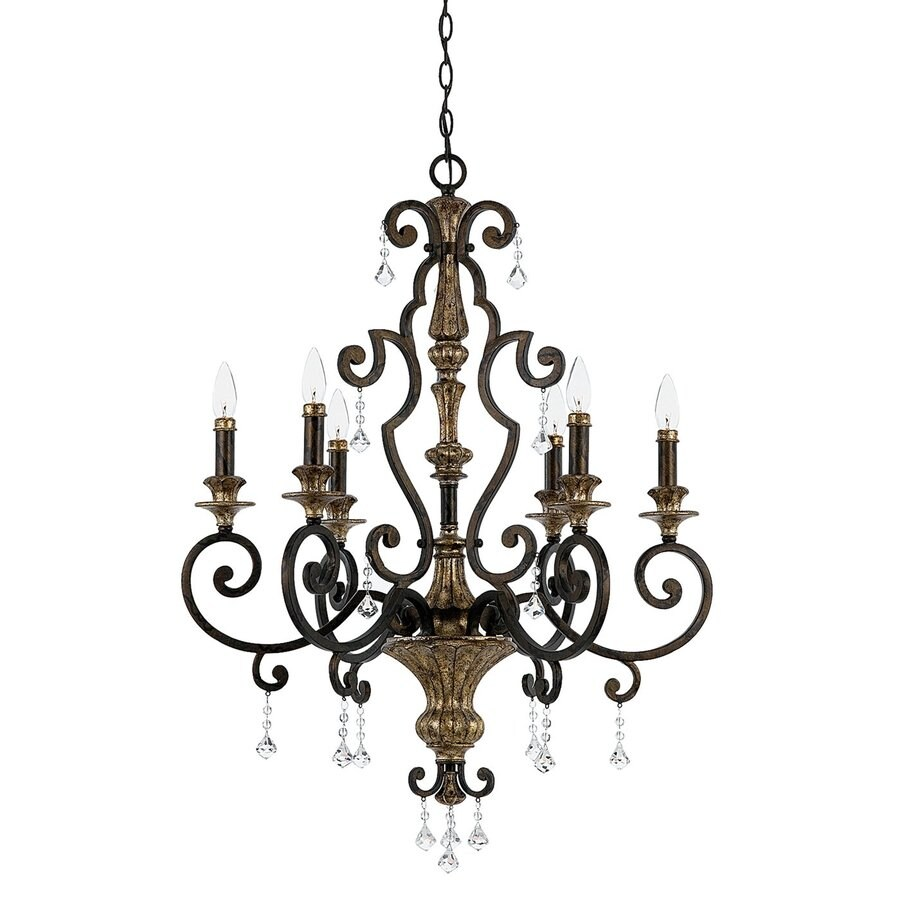 Quoizel Marquette 28-in 6-Light Heirloom Vintage Candle Chandelier