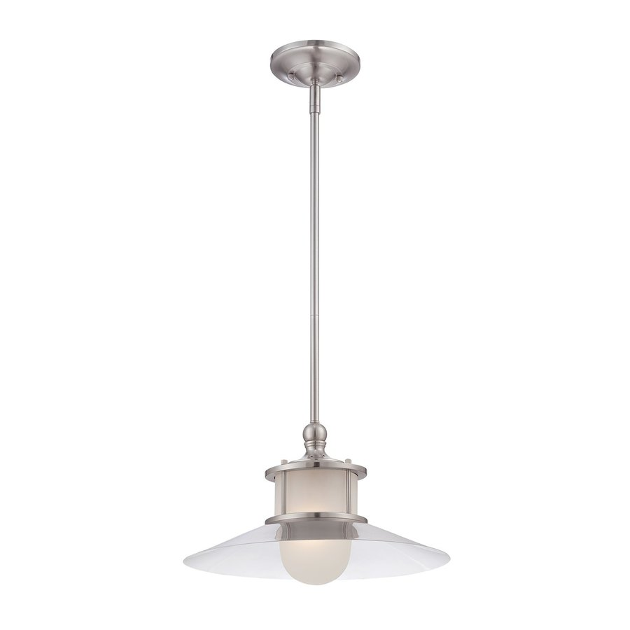Quoizel New England 14-in Brushed Nickel Industrial Single Clear Glass Warehouse Pendant
