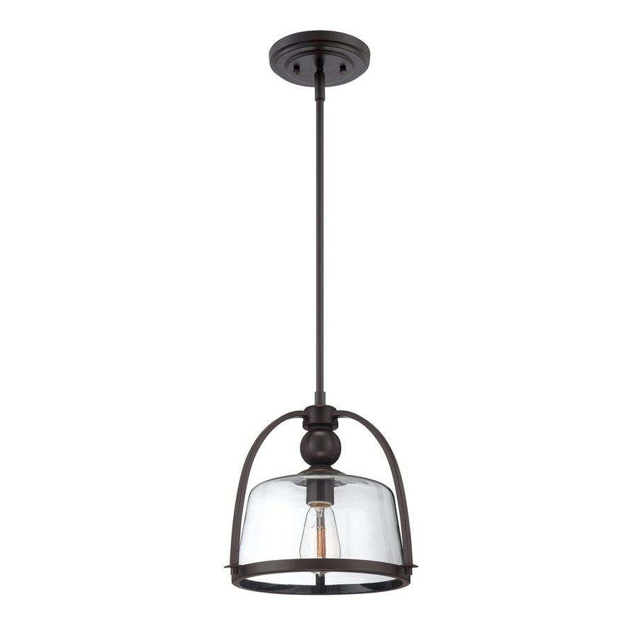 Quoizel Ridley 11-in Western Bronze Industrial Single Clear Glass Dome Pendant