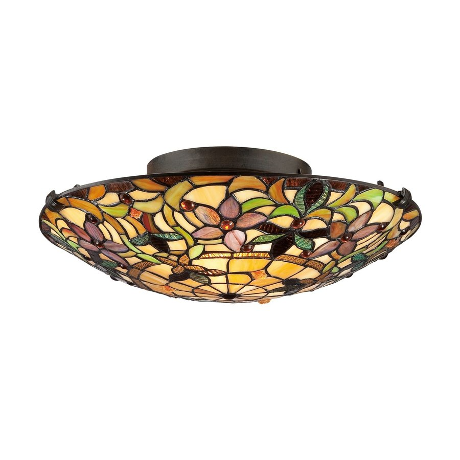 Quoizel Kami 17-in W Vintage bronze Tiffany-style Flush Mount Light