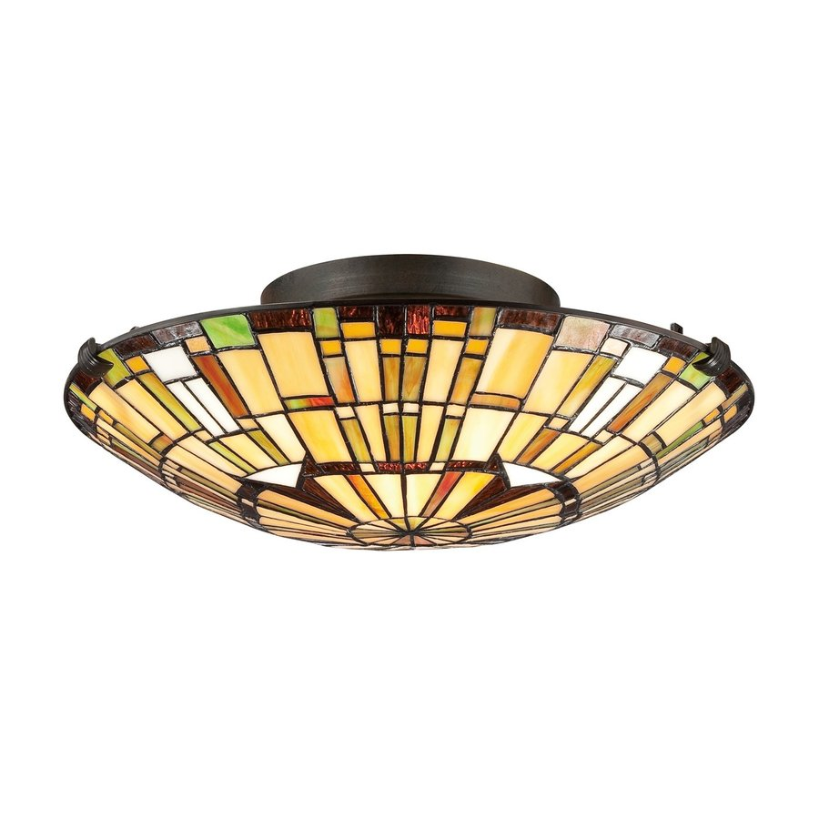 Quoizel Reed 17-in W Vintage Bronze Tiffany-Style Flush Mount Light