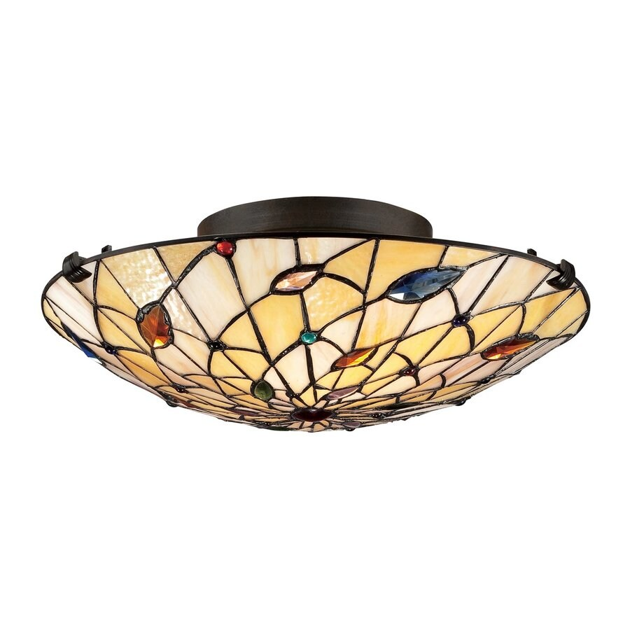 Quoizel Graham 17-in W Vintage Bronze Tiffany-Style Ceiling Flush Mount Light