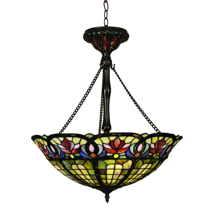 Quoizel Hyacinth 22-in Vintage Bronze Tiffany-Style Single Stained Glass Bowl Pendant