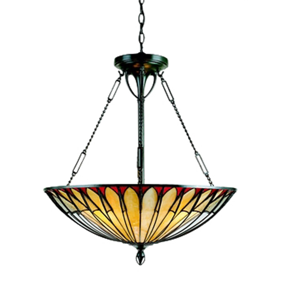 Quoizel Alhambre 22-in Vintage Bronze Tiffany-Style Single Stained Glass Bowl Pendant