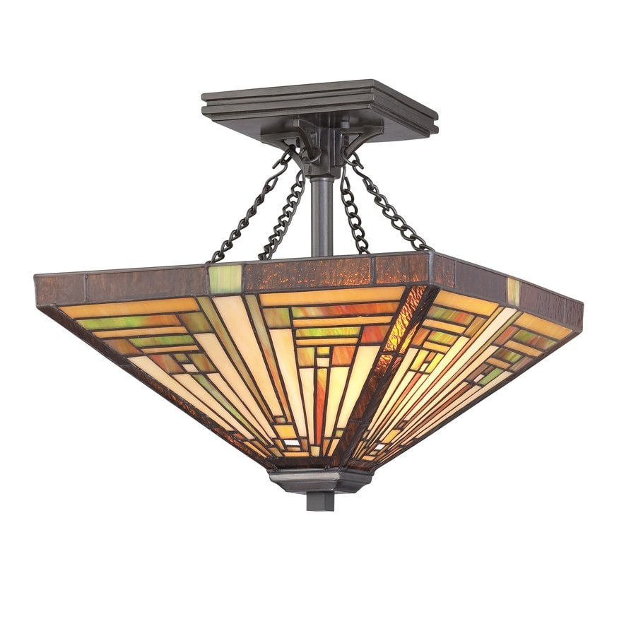 Quoizel Stephen 13.75-in W Vintage bronze Stained Semi-Flush Mount Light