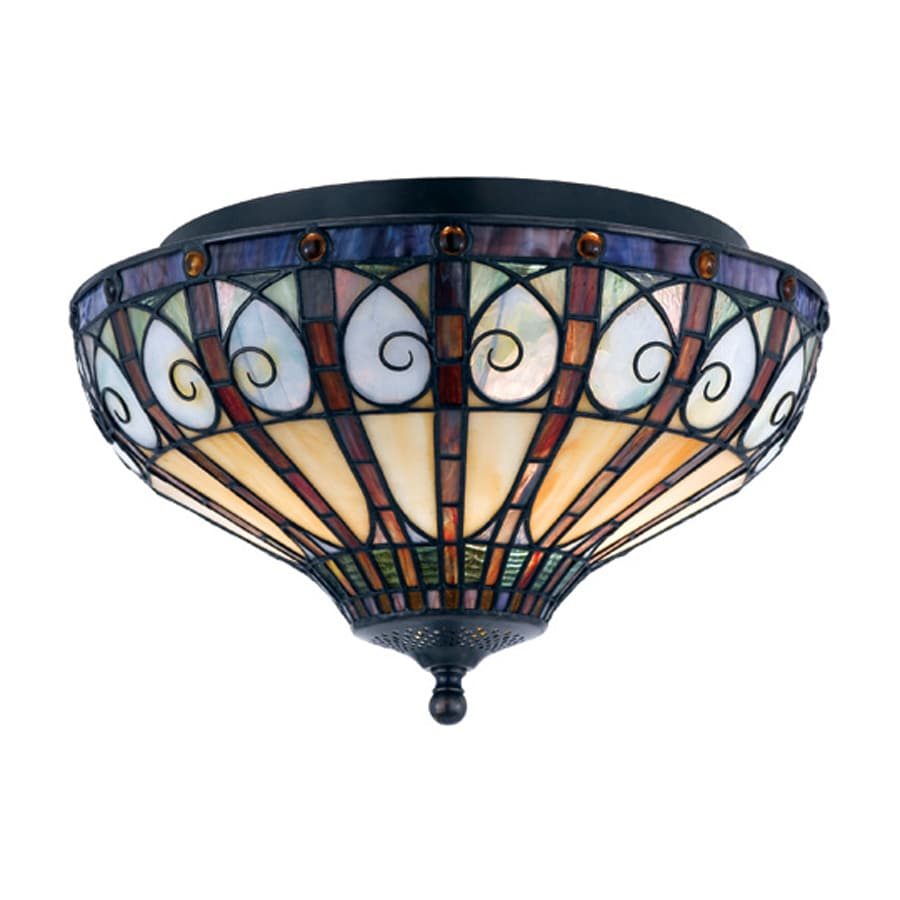 Quoizel Ava 14-in W Vintage bronze Tiffany-style Flush Mount Light