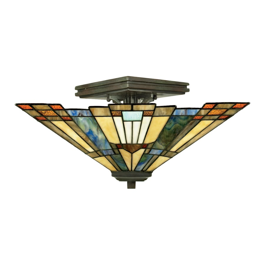 Quoizel Inglenook 14-in W Bronze Tiffany-Style Semi-Flush Mount Light