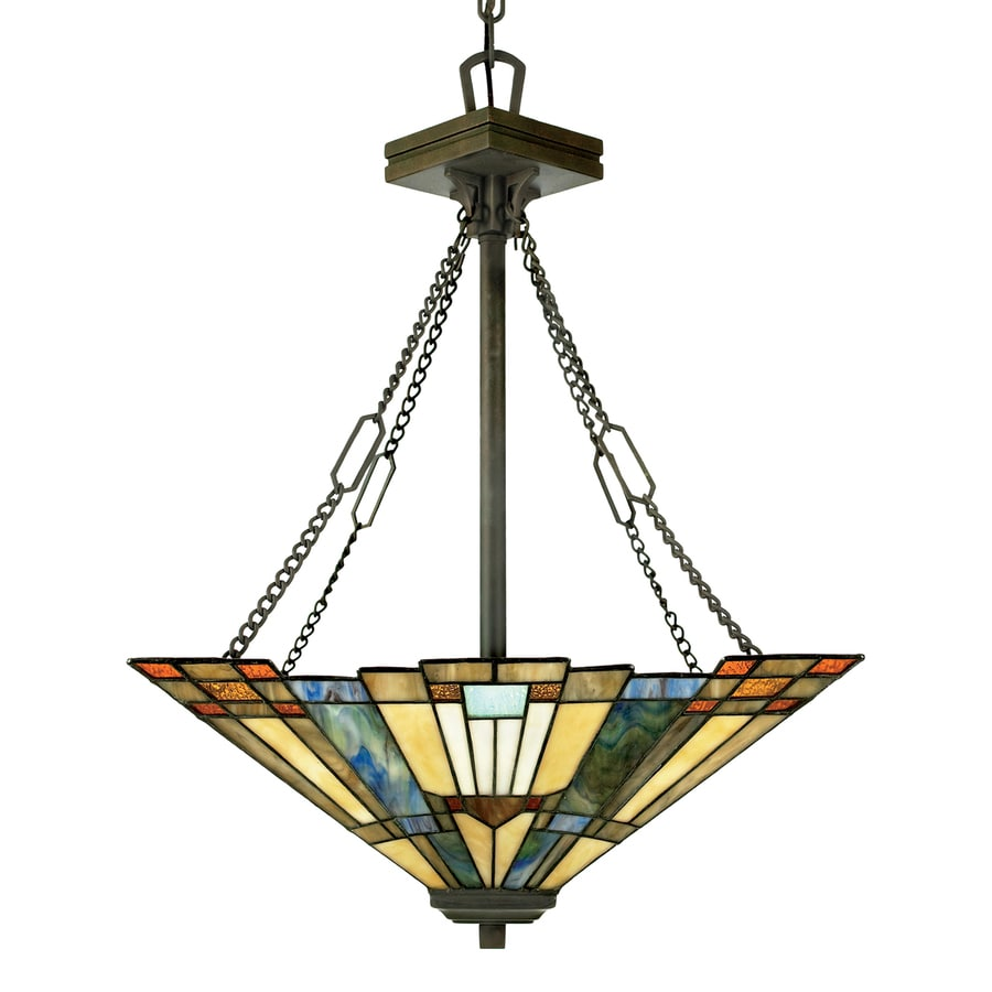 Quoizel Inglenook 17-in Bronze Tiffany-Style Single Stained Glass Geometric Pendant