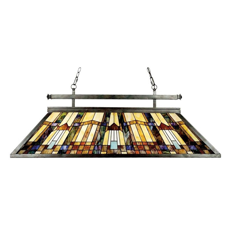 Quoizel Inglenook 16-in W 3-Light Multicolored Tiffany-Style Kitchen Island Light