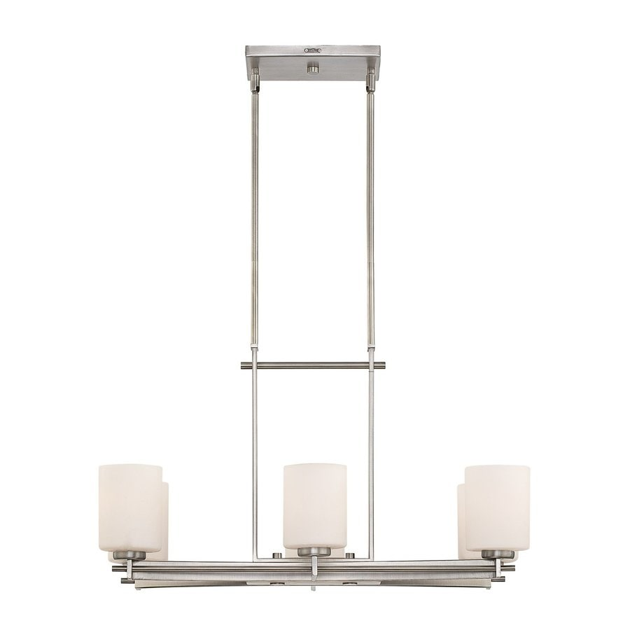 Quoizel Taylor 16-in W 6-Light Antique Nickel Kitchen Island Light with Etched Shade