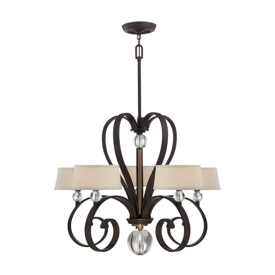 Quoizel Uptown 32-in 5-Light Western Bronze Shaded Chandelier