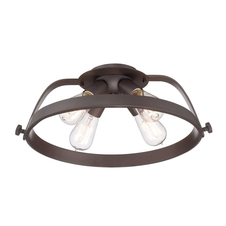 Quoizel Uptown 17.5-in W Western Bronze Shades Semi-Flush Mount Light