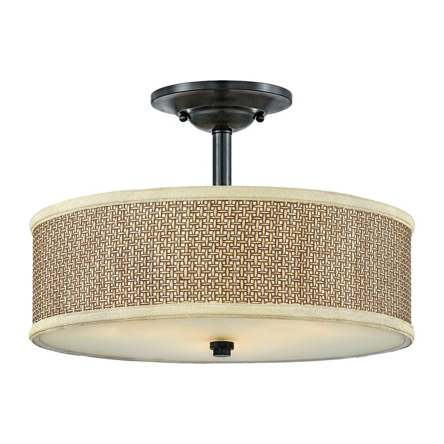 Quoizel Zen 17-in W Mystic black Fabric Semi-Flush Mount Light