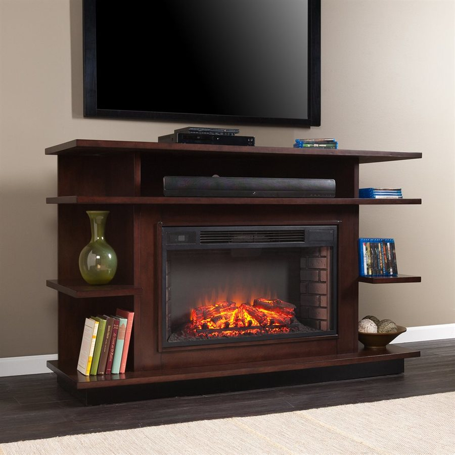 Boston Loft Furnishings 63-in W Espresso MDF LED Electric Fireplace Media Mantel with Thermostat and Remote Control