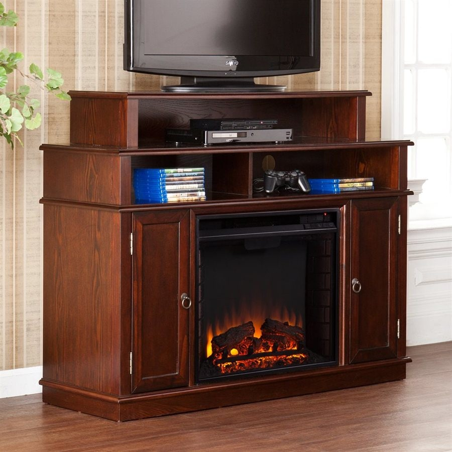 Boston Loft Furnishings 47.75-in W Espresso MDF LED Electric Fireplace Media Mantel with Thermostat and Remote Control
