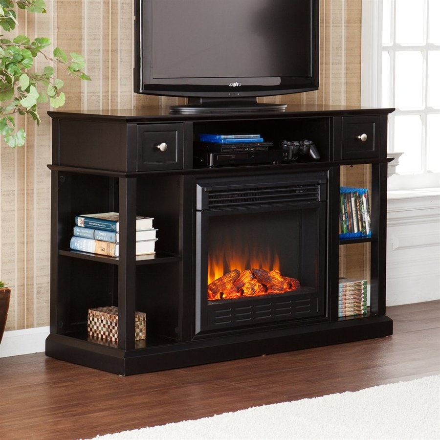 Boston Loft Furnishings 47.75-in W Black MDF LED Electric Fireplace Media Mantel with Thermostat and Remote Control
