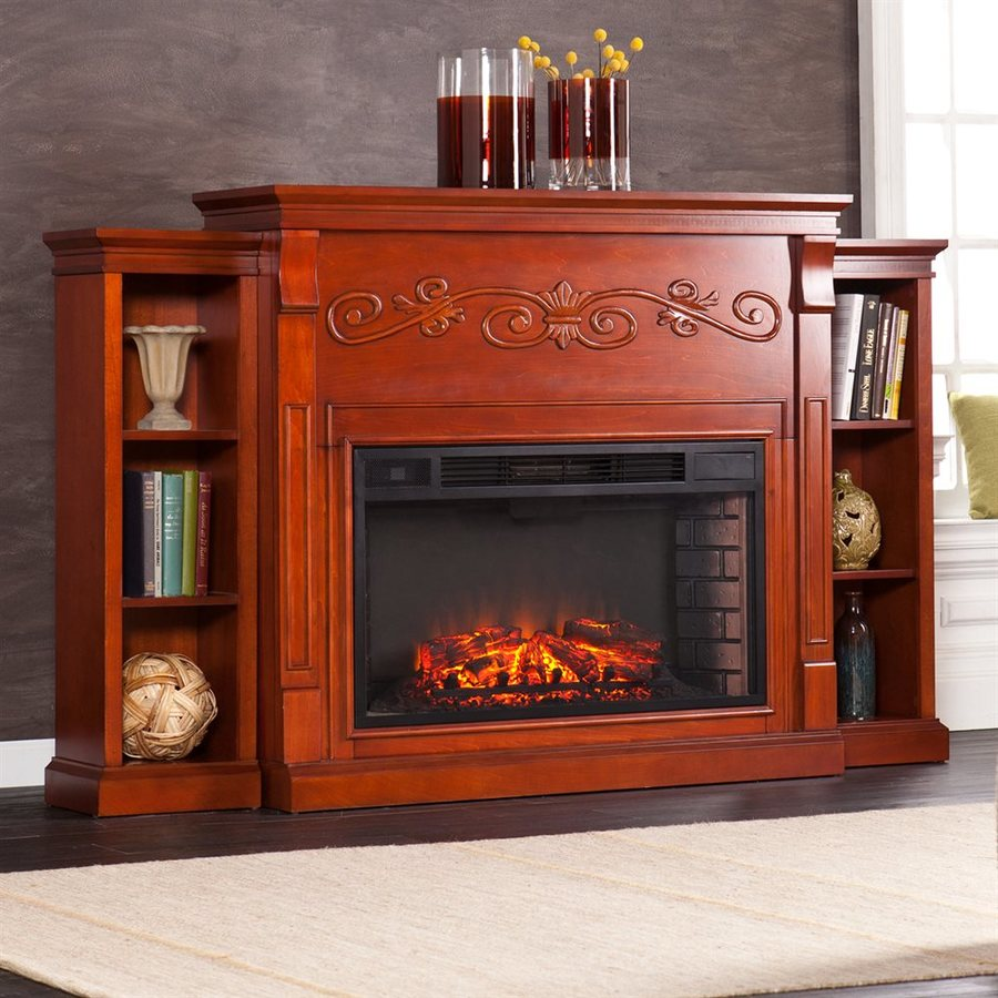 Boston Loft Furnishings 68-in W Classic Mahogany MDF LED Electric Fireplace with Thermostat and Remote Control