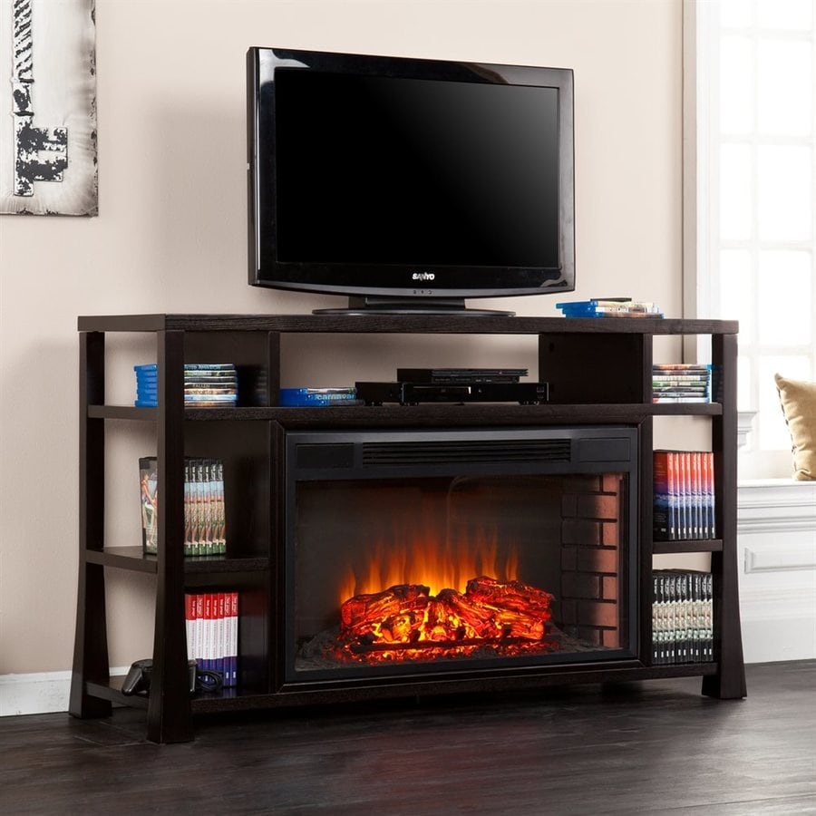 Boston Loft Furnishings 55.25-in W Ebony MDF LED Electric Fireplace Media Mantel with Thermostat and Remote Control