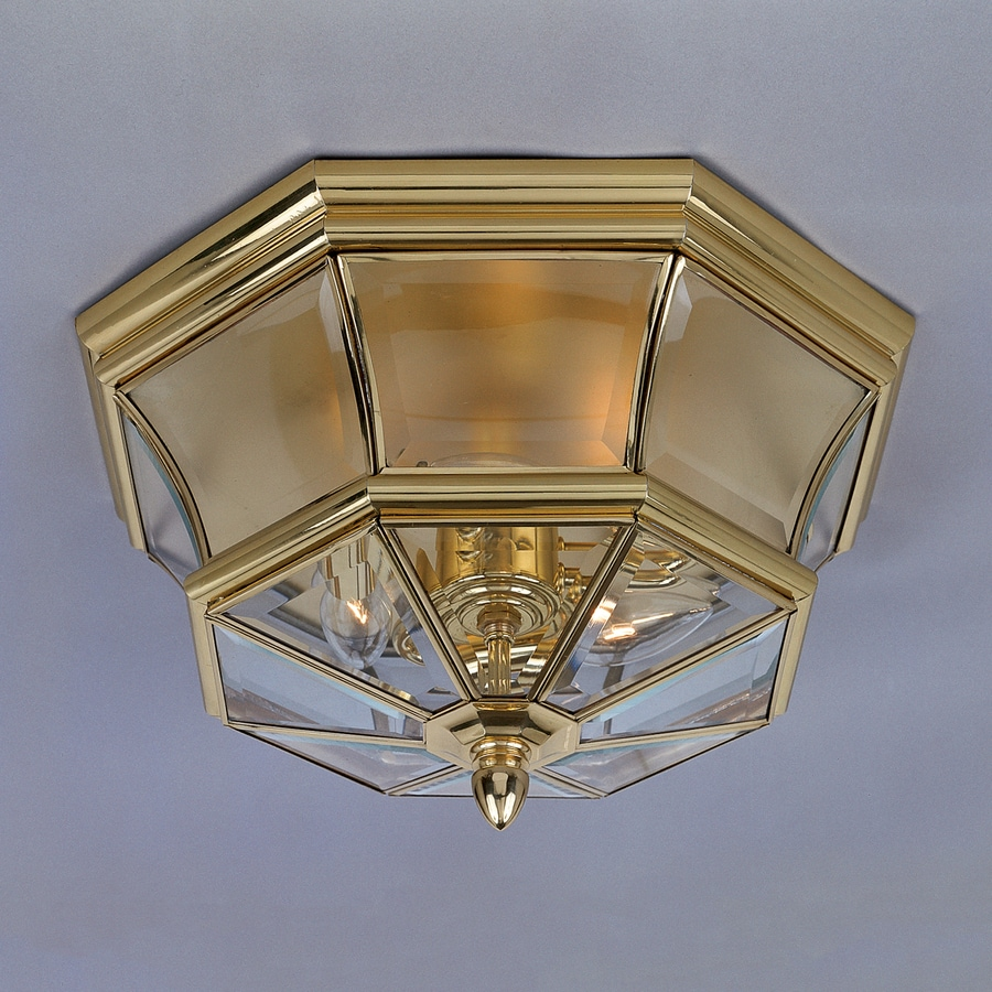 Quoizel Newbury 15.25-in W Polished Brass Outdoor Flush-Mount Light