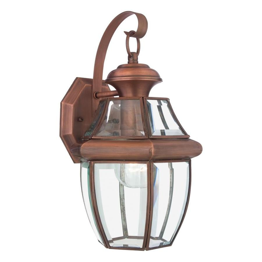 Copper Garden Wall Lights : Shop Quoizel Newbury 14-in H Aged Copper Outdoor Wall Light at Lowes.com