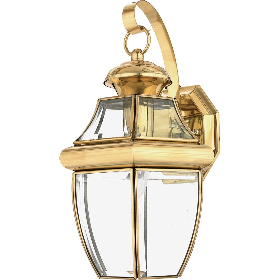Polished Brass Wall Lamps : Shop Quoizel Newbury 14-in H Polished Brass Outdoor Wall Light at Lowes.com