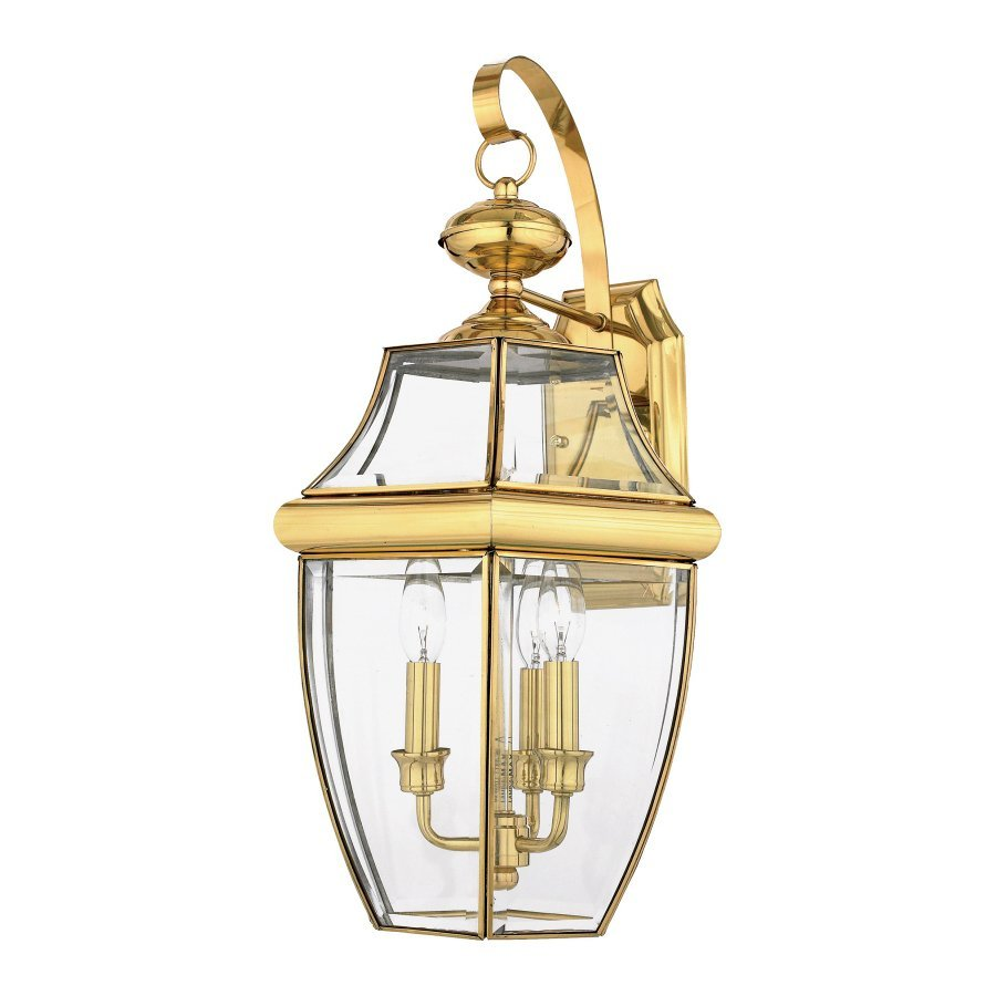 Quoizel Newbury 22.5-in H Polished Brass Candelabra Base (E-12) Outdoor Wall Light