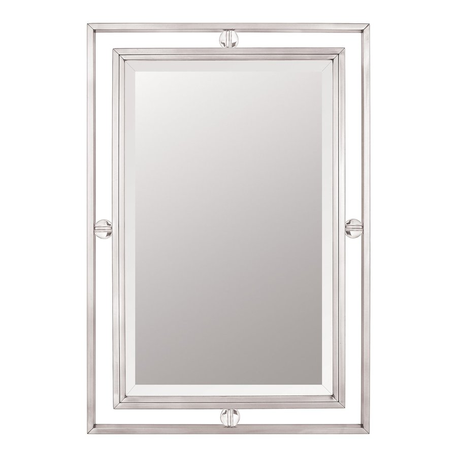 Shop Quoizel Downtown Brushed Nickel Beveled Rectangle Wall Mirror At