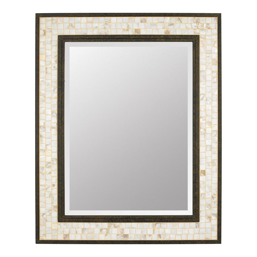 Quoizel Monterey Mosaic 24-in x 30-in Malaga Beveled Rectangle Framed Transitional Wall Mirror