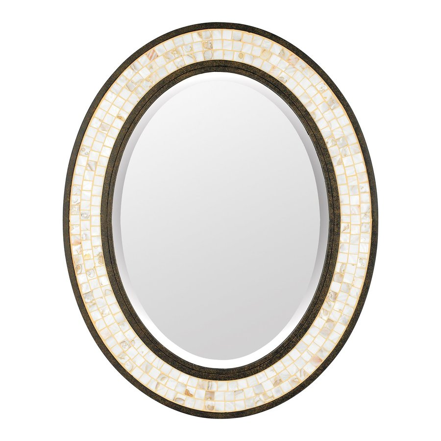 Quoizel Monterey Mosaic 24-in x 30-in Malaga Beveled Oval Framed Transitional Wall Mirror