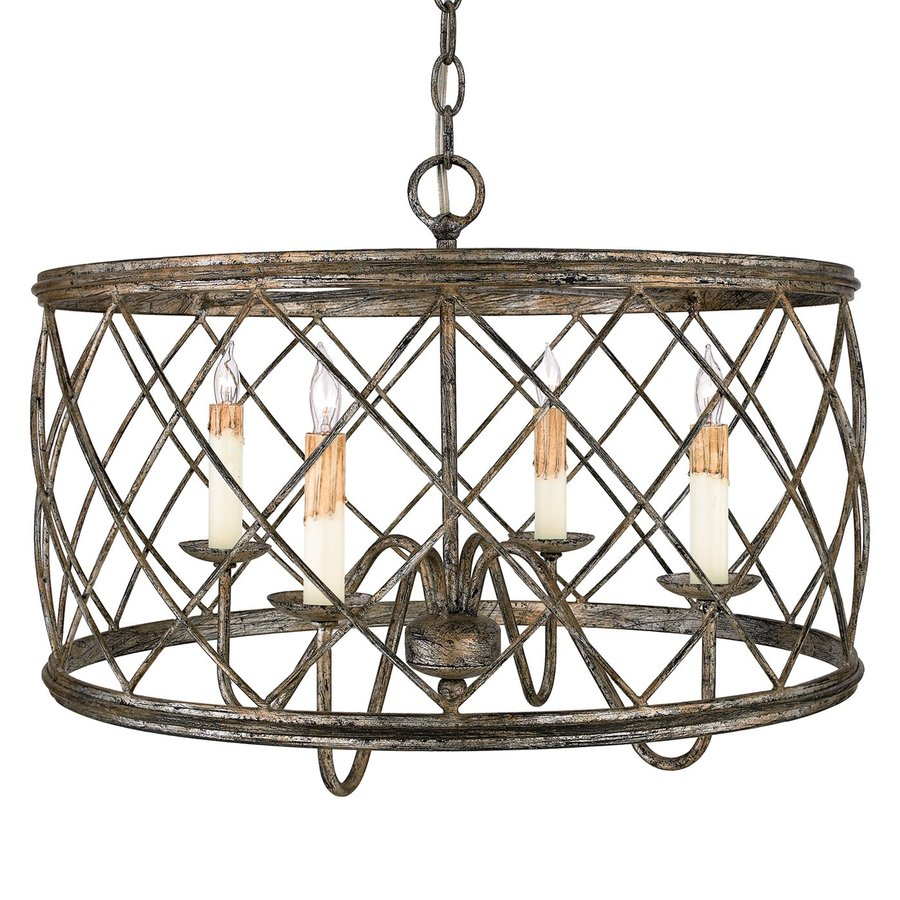 Quoizel Dury 21-in Century Silver Leaf Vintage Multi-Light Cage Pendant