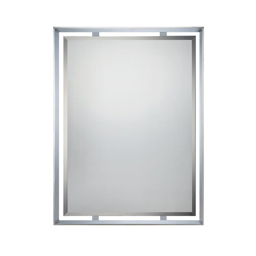 Quoizel Uptown Ritz 26-in x 34-in Polished Chrome Beveled Rectangle Framed Contemporary Wall Mirror