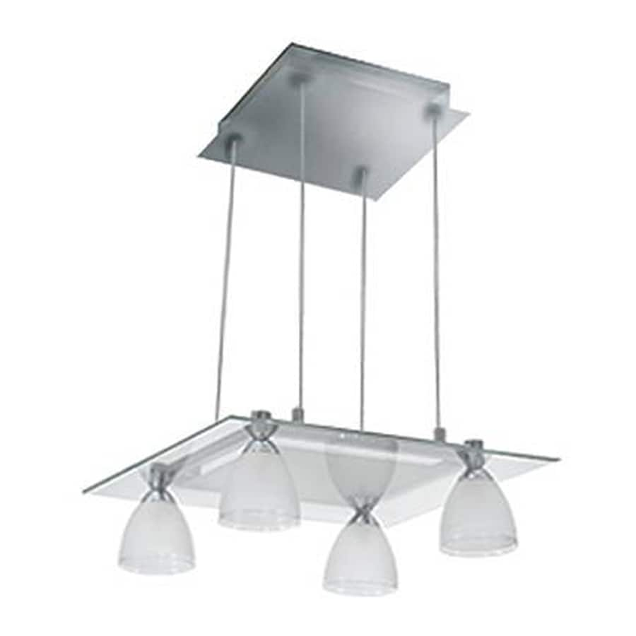 JESCO Slantus 14.25-in W 4-Light Satin Nickel Kitchen Island Light with Clear Shades